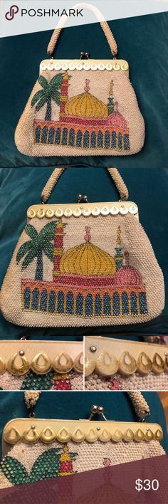 "Vintage kitsch Taj Mahal beaded purse 70's Vintage handbag with beaded Taj Mahal image on both sides. This item is VINTAGE and has some areas of missing beads, discoloration and rust. See photos.  The bag clasps are functional & closes/opens easily. The bag tapers - its widest measurement is at the base. Discoloration on inside of lining and also on sides of bag - see photos.   Measurements: Length of strap-14.5"" Width at top-8"" Width at bottom-11.5"" From top to bottom, not including…"