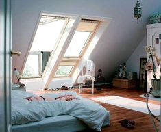 Stunning VELUX Juliet-style balcony skylights for your loft conversion or self-build. Attic Rooms, Attic Apartment, Attic Bathroom, Design Apartment, Attic Playroom, Dream Apartment, Apartment Therapy, Home And Deco, Design Case
