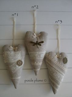 Fabric & Lace Hearts