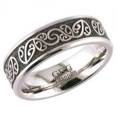 Trendy The Koru Titanium Laser Engraved Gents Wedding Ring