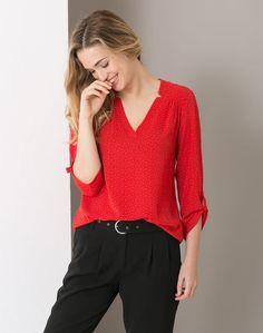 1.2.3 Paris - Les looks automne-hiver 2016 - #Chemisier #rouge imprimé Fantaisy 69€ #123paris #mode #fashion #shopping #shirt #red