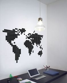 Stickaz's decoration concept is based on a new office trend. It's called post it art and you can find amazing [. World Map Wall Decal, World Map Wall Art, Pixel Art, Post It Art, Easy Diy Room Decor, Office Wall Art, Handmade Home Decor, Home Art, Wall Murals