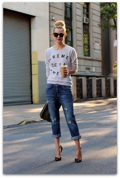 Boyfriend jeans and sweater. I love this because its so relaxing and carefree.