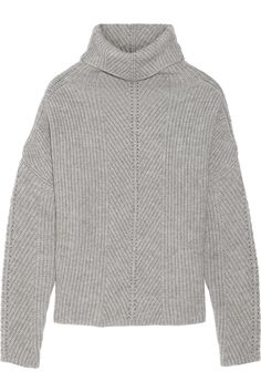 Maje|Matignon oversized ribbed-knit turtleneck sweater|NET-A-PORTER.COM