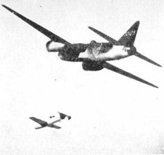 "fujisan-ni-noboru-hinode: "" a mitsubishi G4M ""betty"" launches a yokosuka MXY7 Ohka ""cherry blossom"" human guided jet powered bomb. The nose of the Ohka was a 2600 pound high explosive warhead. """