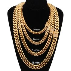 wide stainless steel cuban Miami chains necklaces CZ Zircon box lock big heavy gold chain for men Hip Hop Rock jewelry Mens Gold Chain Necklace, Mens Leather Necklace, Men Necklace, Necklace Ideas, Pendant Necklace, Silver Chain For Men, Gold Chains For Men, Mens Necklace Personalized, Necklace Size Charts