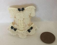 Handmade 1/12th Scale DollHouse Miniature Ladies Victorian style black bow Cream Lace cream Corset