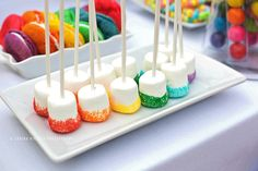 Colorful sugar sprinkled marshmallows for rainbow party Wiggles Birthday, Wiggles Party, Trolls Birthday Party, Rainbow Birthday Party, Art Birthday, Unicorn Birthday Parties, Birthday Party Themes, Birthday Ideas, Preteen Birthday