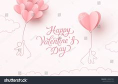 Valentines hearts balloons with people flying on pink background. Vector love postcard for Happy Valentine's Day greeting card design. Valentine Heart, Happy Valentines Day, Eid Cake, Paper Balloon, People Fly, Happy Mother's Day Greetings, Alphabet Stencils, Valentines Day Background, Valentine's Day Greeting Cards