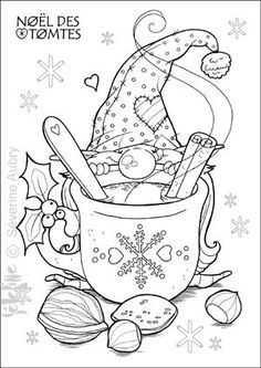 Embroidery idea, Santa Gnome & Hot Chocolate... tomte-chocolat