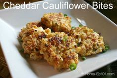 How To Make Cheddar Cauliflower Bites: Baked cheese and cauliflower patties with ground almonds instead of the usual bread crumbs for a gluten-free vegetarian snack