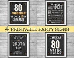 80th Birthday Printable Party Decor 4 Unique 8x10 Signs by NviteCP, 80th Birthday, 80th Anniversary, 1937 sign, 80th