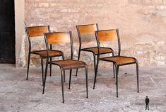 Lot de 4 chaises d'école vintage bois et métal