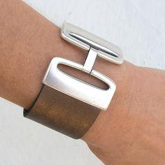 Women's leather cuff bracelet with matt silver large by Jullyet, $30.00