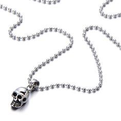Tiny Skull Pendant Necklace for Men Women Steel High Polished with 23.6 inches Steel Ball Chain -- Learn more by visiting the image link.