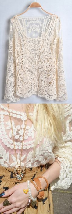 Love this long sleeve, white lace top. So pretty and elegant, this could be dressed up or down.