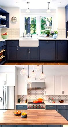 Kitchen Remodel Ideas 25 Gorgeous Paint Colors for Kitchen Cabinets (and beyond) - A Piece Of Rainbow - Transform your kitchen easily with 25 beautiful kitchen cabinet colors and favorite designer kitchen paint color combos from farmhouse to modern glam! Kitchen Redo, New Kitchen, Kitchen Ideas, Kitchen Cupboards, Kitchen Backsplash, Backsplash Ideas, Country Kitchen, Kitchen White, Kitchen Small