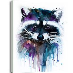 Raccoon Art Print by slaveika - Raccoon watercolor painting print, Raccoon art, animal watercolor, animal illustration, Raccoon il - Art And Illustration, Raccoon Illustration, Painting & Drawing, Painting Prints, Art Prints, Painting Abstract, Art Inspo, Animal Drawings, Art Drawings