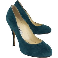 Pre-owned Brian Atwood Green Suede Pumps ($159) ❤ liked on Polyvore featuring shoes, pumps, brian atwood shoes, leather sole shoes, pre owned shoes, suede shoes and green shoes