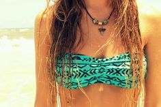 aqua teal & black tribal print bandeau