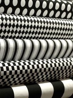 love bold black & white patterns - a favorite chair or large ottoman/coffee table, as frames for vintage cartoon drawings, or as a wacky set of curtains in an otherwise sedate room! Black And White Fabric, Black White Pattern, Black And White Design, Black And White Colour, Shades Of Black, White Patterns, Monochrome Pattern, Beautiful Patterns, Fabulous Fabrics