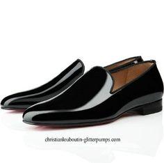 Christian Louboutin Henri Men's Flat Patent Leather Sneakers Black