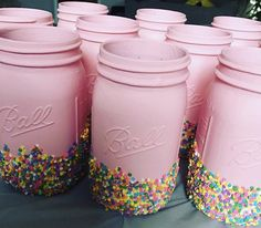 You will receive 6 mason jars. Two sizes available: pint and quart size Each mason jar is painted in matte pink and dipped in real candy sprinkles! These are perfect for unicorn parties! Barbie Birthday Party, Donut Birthday Parties, Carnival Birthday Parties, Donut Party, Birthday Crafts, Birthday Fun, Birthday Ideas, Barbie Party, Candy Sprinkles