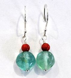 Roman glass earrings dangling silver earrings Israeli by Bluenoemi, $36.00