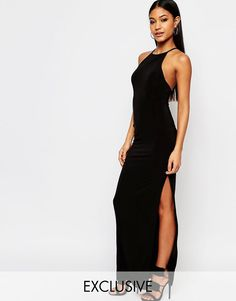 One shoulder kleid lang schwarz