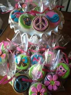 Hippie Chick Peace Birdie Butterfly Owl Birthday Sugar Cookie Collection