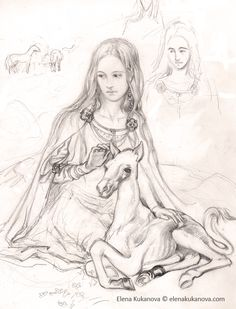 """Young Eowyn by ekukanova.deviantart.com on @deviantART - From """"Lord of the Rings"""". You can see some smaller sketches in the background."""