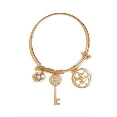 GUESS Gold-Tone Quattro G Charm Bangle ($15) ❤ liked on Polyvore featuring jewelry, bracelets, gold, pave bangle bracelet, bangle charm bracelet, guess jewelry, bracelets & bangles and rhinestone jewelry