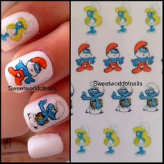 The Smurfs Nail Art Water Decals/ Transfers by Sweetworldofnails, $2.50