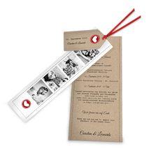 online selbst gestalten: Hochzeitseinladung - Wickelfalz mit Banderole und Anhänger - rotes Herz auf Kraftpapier ✔Toller Materialmix ✔ Online jetzt gestalten