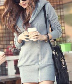 Trendy Zippy Hooded Jacket Sweater (Grey) - $39.00