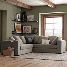 Nice color on the wall, too Walton Sectional modern sectional sofas -- I love the shelves & decor, and the placement too Living Room Green, My Living Room, Home And Living, Grey And Brown Living Room, Cozy Living, Living Room Inspiration, Room Colors, Colours, Living Room Decor Colors