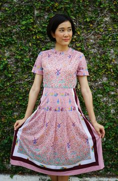 Vintage Dress, 1980s Dress, Vintage Japanese Dress, Vintage Womens Dress, Summer Dress, 80s Style, 80s Dress, Dutch Netherlands Print Dress by hisandhervintage on Etsy