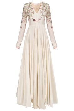 Off white anarkali style gown available only at Pernia's Pop Up Shop. Pakistani Fashion Party Wear, Pakistani Dress Design, Pakistani Dresses, Indian Fashion, Simple Long Dress, Simple Gowns, Indian Designer Outfits, Designer Dresses, Mode Abaya