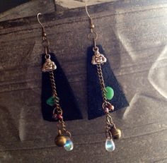 Leather Gypsy trinket earrings  by thisthatandthese on Etsy, $15.00