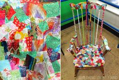 How to Cover a Rocking Chair using Thrifted Fabric | Something to be Found for Goodwill