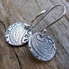 Pretty Paisley... PMC and Argentium Sterling Silver Disc Earrings
