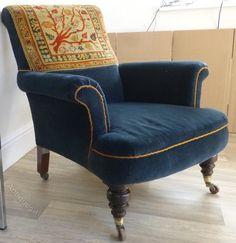 Antique Armchairs, Victorian Armchair Blue Velvet With Carpet Back. Late  19th Century Armchair