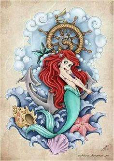Disney Tattoo Ariel little mermaid Disney art Mermaid tattoo Tattoo Ariel, Disney Tattoos Ariel, Mermaid Tattoos, Ariel Mermaid, Mermaid Disney, Disney Little Mermaids, Ariel The Little Mermaid, Disney Kunst, Art Disney