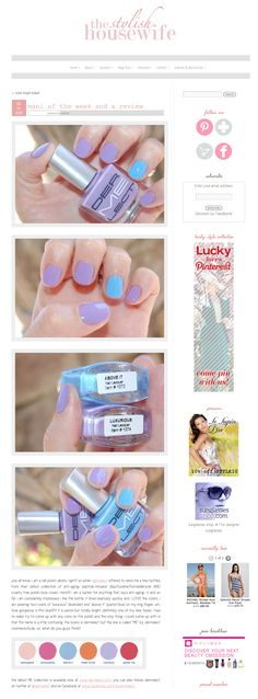 The Stylish Housewife features Dermelect ME anti-aging, peptide-infused, dbp/toulene/formaldehyde AND cruelty free polish! Check out the combination of Luxurious (lavender) & Above It (pastel blue). http://www.dermelect.com/ME-Peptide-Infused-Nail-Color-Treatments.asp?item=1075