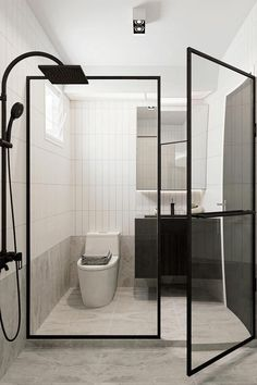Punggol Northshore HDB owners, check out these knock-ups!, Lifestyle News - AsiaOne Interior Design Toilet, Toilet Design, Door Design, Modern Interior Design, House Design, Black Toilet, Bathroom Doors, Bathrooms, Black And White Tiles
