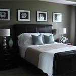 bedrooms - dark brown leather headboard wall art brown modern nightstands silver lamps blue silk pillows brown throw blanket green taupe walls... Color combo <3