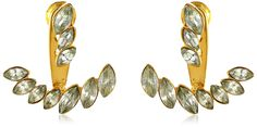 Vince Camuto Marquis Gold Earring Jackets. Stud earring featuring trio of marquise-cut simulated stones at post and curved removable earring jacket. Friction-back post. Imported.