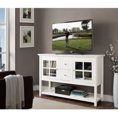 """52"""" White Wood Console Table TV Stand"""