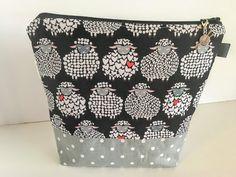 Sock Knitting Project Bag Zippered Project Bag by QuiltKnitCraft