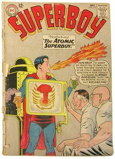 No bueno! Hasta en los comics se reflejaba la era atomica. Aquí el ejemplo de Super Boy #Juguetes #Toys #Atomic